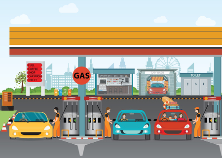 Gasoline and oil station or gas filling station, Energy conceptual  Vector flat illustration.