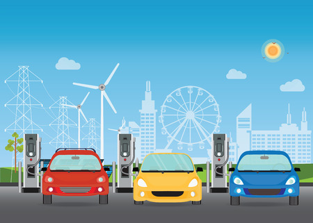 Electric cars charging at the charger station, the solar panels and wind turbines on City building skyline background,Eco green city theme conceptual vector illustration.