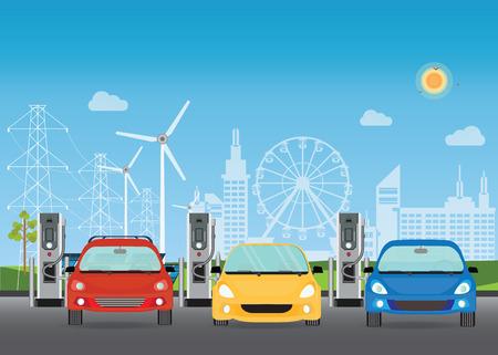 Les voitures électriques chargées à la station de chargeur, les panneaux solaires et les éoliennes sur le fond de l'édifice de la ville, l'illustration vectorielle conceptuelle écologique de la ville verte. Vecteurs