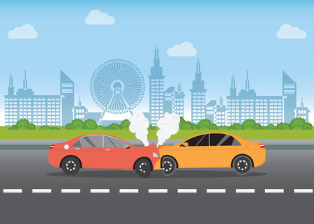 Car crash on the road, car accident with Red and yellow cars are broken in the city landscape, road accident conceptual vector illustration. Illustration
