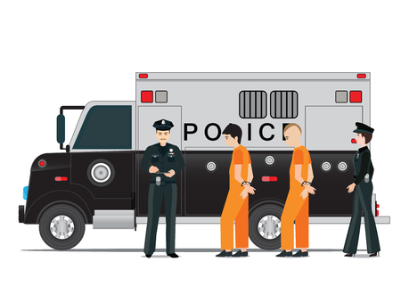 handcuffed: Police station with prison bus, cop and prisoner in orange prisons handcuffed isolated on white, flat style Vector illustration.