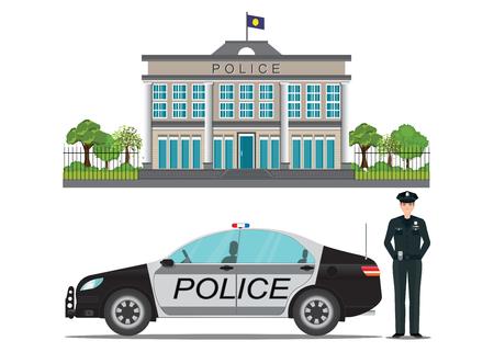 Polizeistation mit dem Polizeibeamten und Polizeiwagen lokalisiert auf weißem Hintergrund, Vektorillustration. Vektorgrafik