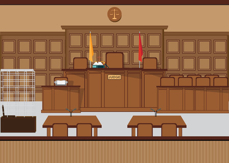 Court of law hall with wooden furniture, Judicial court interior vector illustration. Vektorové ilustrace