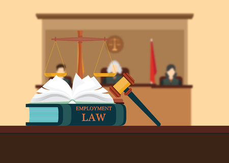 Employment Law books with a judges gavel , judicial system set and three judges blured background Conceptual Law and justice set icon, Vector illustration. Vector Illustration