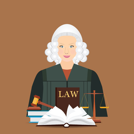 Female judge in wig with Law and justice set icon, Scales of justice, gavel and books in flat style, Conceptual justice and law Vector illustration.