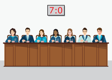 Group of professional Competition judges push button with estimates, vector illustration.
