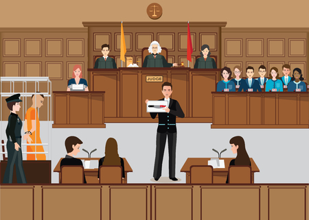 Système judiciaire des personnes isométriques mis en place avec l'illustration vectorielle du juge, du défendeur, de l'avocat, du jury et des témoins.