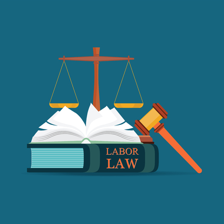 Labor Law books with a judges gavel in flat style, Conceptual  Law and justice set icon, Vector illustration. Illusztráció