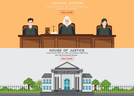 Law horizontal banner set with judicial system elements and house of justice building isolated vector illustration.