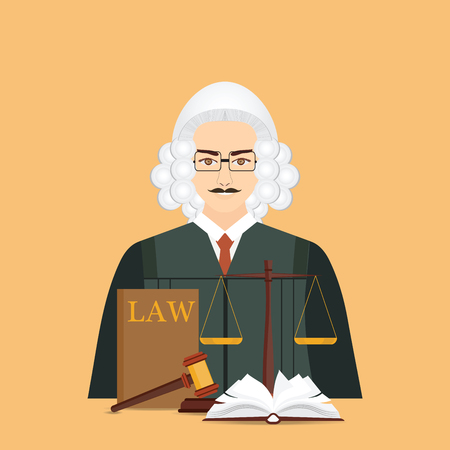 Male judge in wig with Law and justice set icon, Scales of justice, gavel and books in flat style, Conceptual justice and law Vector illustration.