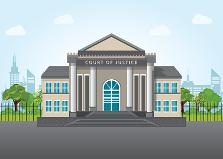 supreme court: Modern court building, house of justice on city view landscape background,architect vector illustration.