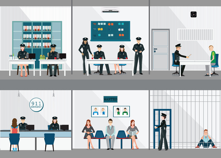 Police station interior set with office room, witness interview room, prison cell and receiving desk, flat design vector illustration.