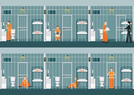 オレンジ色のバーの後ろに制服で被収容者と刑務所のセルの行。
