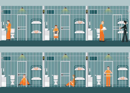 Rows of prison cells with inmates in orange uniform behind the bars.