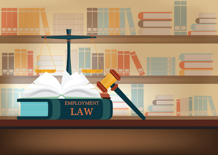 Employment Law books on a table and book shelves background with a judges gavel , judicial and law system Conceptual Vector illustration.