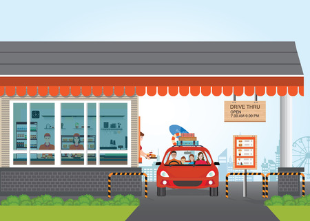 thru: Family Getting Food at a Drive Thru Restaurant, flat design vector illustration.