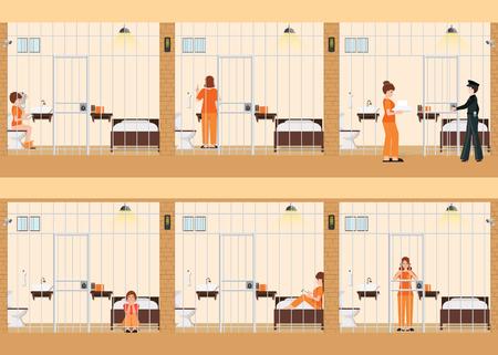 Rijen van gevangeniscellen met het leven van vrouwen in gevangenis, gevangenis gevangenen in oranje eenvormig achter de bars, binnen de ruimtebinnenland van de gevangenisgevangenis, vectorillustratie.