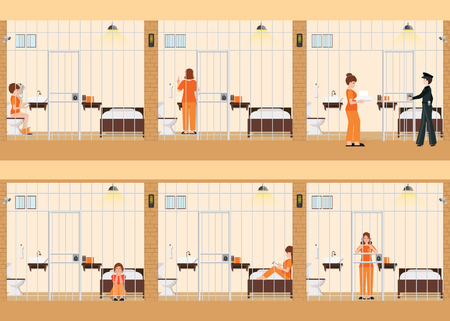 Rows of prison cells with life of women in jail, prison inmates in orange uniform behind the bars, prison jail interior room interior, vector illustration.