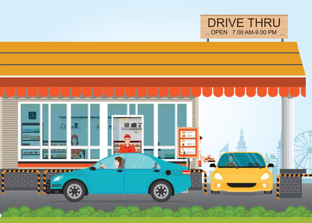 Two cars getting Food at a Drive Thru Restaurant, flat design vector illustration.