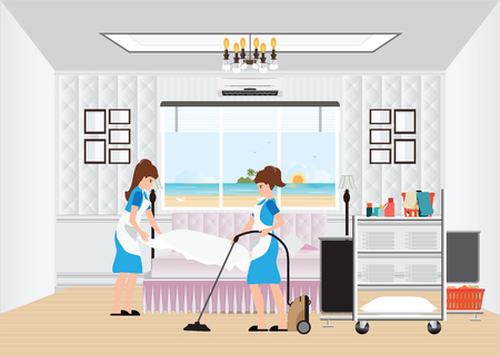 Maid cleaning hotel room with housekeeping trolley with bed clothes linen in cart and vacuum cleaner, hotel room service, vector illustration. Illustration