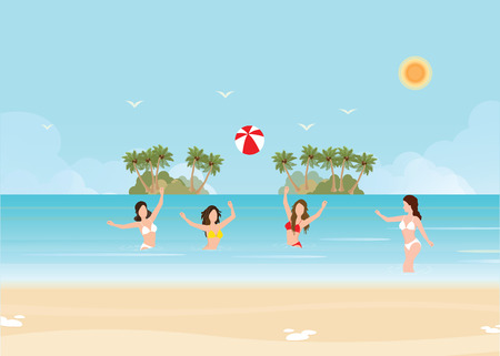 Bikini woman play volleyball in the sea and throw a ball standing in the water on tropical vacation. Holiday of freedom and happiness, vector illustration. Illustration