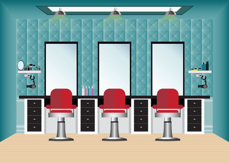 Barber shop with barber chair and mirror , hair beauty salon interior conceptual vector illustration.