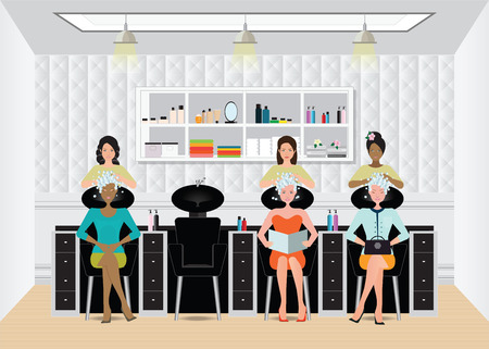 Beautiful young woman getting a hair washed by hairdresser at luxury beauty salon, salon interior vector illustration.