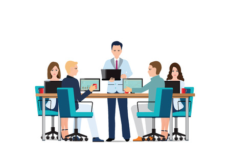 Business man presenting with laptop computer and business people sitting on presentation at office, business presentation conceptual vector illustration.