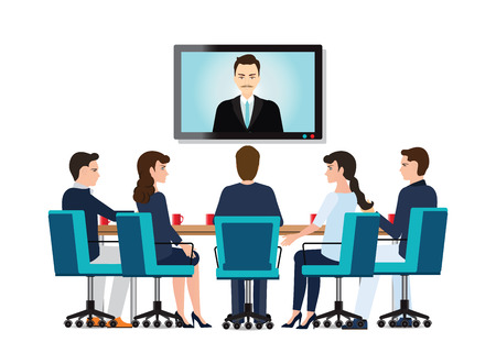 Business people attending videoconference meeting isolated on white background, Business conceptual vector illustration.