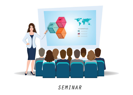 Business seminar female speaker making presentation explaining charts on white, business conceptual vector illustration. Illustration