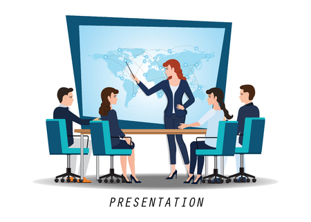 Business woman presenting world business on whiteboard with business people sitting on presentation at office, business presentation conceptual vector illustration.