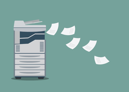 Working copier printer with paper document  ,vector illustration