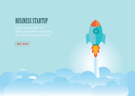 beginnings: Rocket flying above group of clouds, business startup, business conceptual flat vector illustration. Illustration