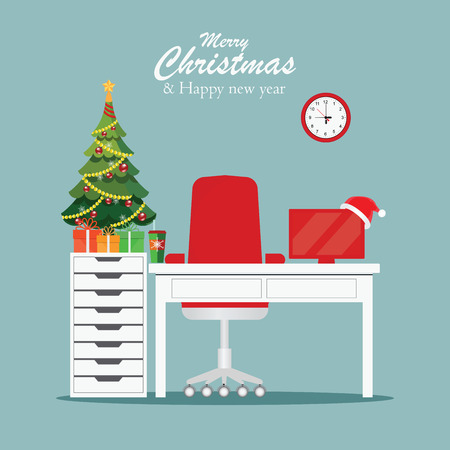 Christmas and New Year in modern office workplace interior with desk, laptop, Christmas tree, lamp, armchair, gifts, Santa Claus heat, Colorful concept for homework, vector illustration.