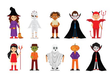 Set of Halloween costume characters vector illustration