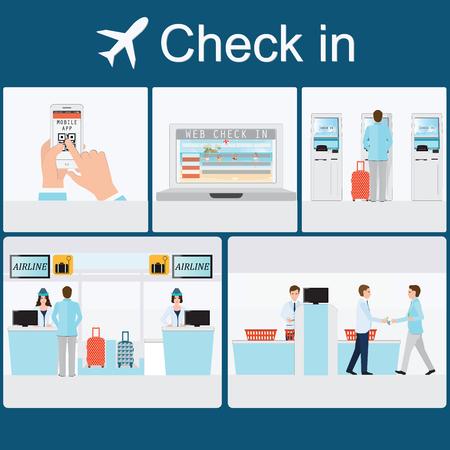 Enregistrement d'homme d'affaires à l'aéroport avec service au comptoir, enregistrement self-service, enregistrement web, application mobile, illustration vectorielle conceptuel de voyage d'affaires. Vecteurs