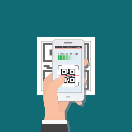 Hand holding mobile phone scanning QR code from document,  Electronic scan, digital technology flat design Vector illustration