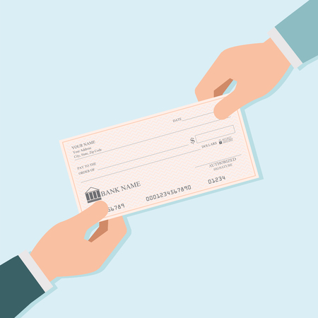 Businessman hand giving blank bank checks or cheque book to other person , vector illustration. Иллюстрация