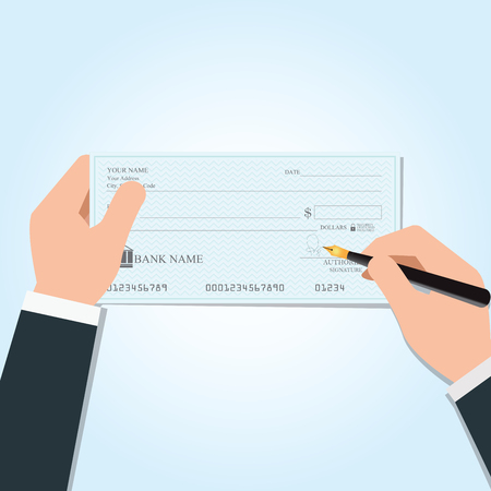 Businessman writing a payment bank checks or cheque book on colored on desk, vector illustration.
