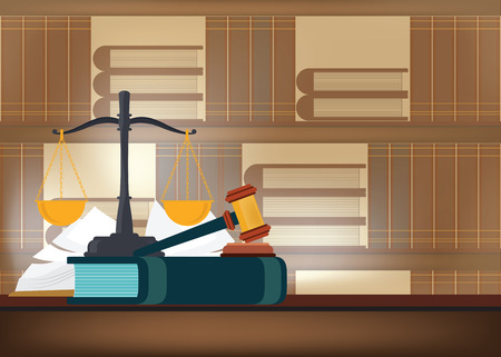Law books with a judge's gavel on a table and book shelves on background, judicial and law system Conceptual Vector illustration.