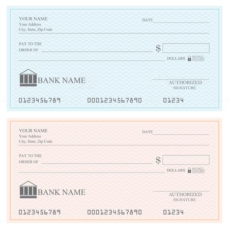 Blank bank checks or cheque book