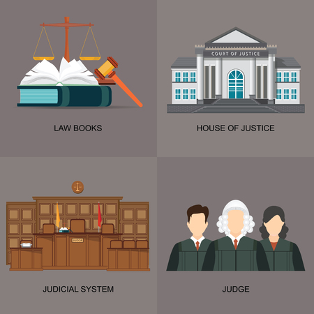 Icon set with judicial system, law books,house of justice and judges