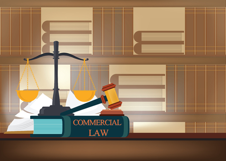 Commercial law books on a table and blurred bookshelves background with a judge's gavel , judicial and law system conceptual vector illustration.