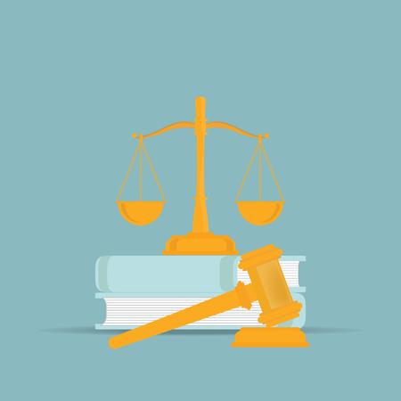 Wetsboeken met een rechtershamer in vlakke stijl, Conceptueel recht en rechtvaardigheids vastgesteld pictogram, Vectorillustratie.