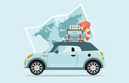 Planning summer vacations Travel by car, World Travel on Summer holiday,Tourism and vacation theme  Flat design vector illustration.
