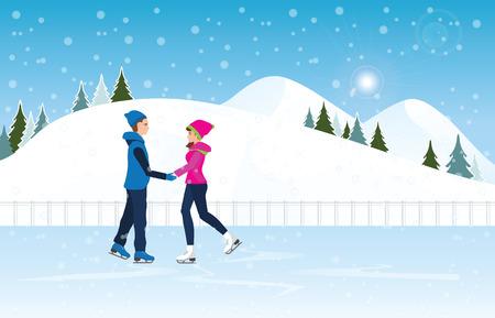 Pares que patinan en pista de hielo en escena del fondo del paisaje del paisaje urbano con nevoso. Deporte de invierno y recreación, vacaciones de invierno vacaciones concepto vector ilustración. Foto de archivo - 90513140