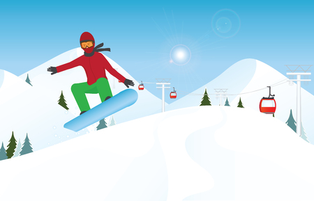 Snowboarder jumping through air against blue sky, Winter sport and recreation,winter holiday vacation and concept vector illustration. Stok Fotoğraf - 90513144