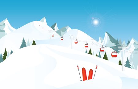 Winter mountain landscape with pair of skis in snow and ski lift against blue sky, winter holiday vacation and skiing concept vector illustration. Illustration