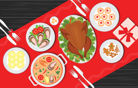 Christmas food on the table, table for festive holiday romantic dinner, banquet table with food and drinks, Thanksgiving table served with turkey, top view flat design style vector illustration.