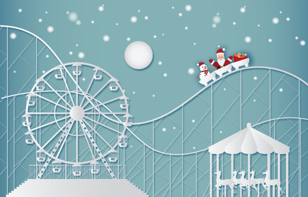 Happy New Year and Merry Christmas on amusement park with Santa Claus and snowman on the Ferris wheel and roller coaster. Paper art and craft style illustration. Illusztráció